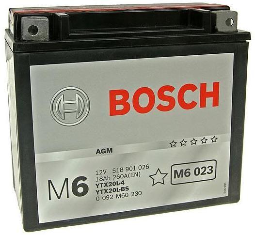 Аккумулятор Bosch M6 12V 18Ah 260A 177x88x156 о.п. (-+) 0092M60230