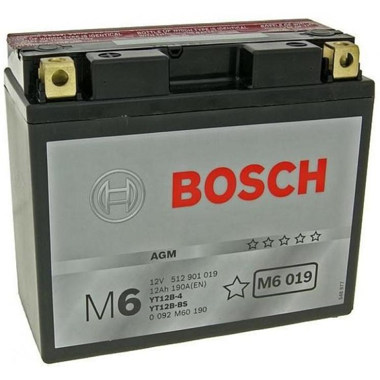 Аккумулятор Bosch M6 12V 12Ah 190A 151x70x131 п.п. (+-) 0092M60190