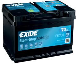 Аккумулятор Exide EK700 70Ah 760A 278x175x190 о.п. (-+) Start-Stop AGM