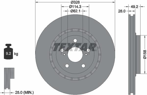 Тормозной диск Textar 92259403