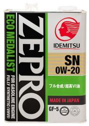 Моторное масло Idemitsu Zepro Eco Medalist 0W-20 (4 л.) 3583-004