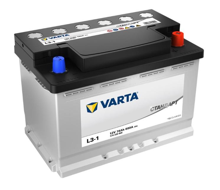 Аккумулятор Varta Стандарт 74Ah 680A 278x175x190 о.п. (-+) 574300068