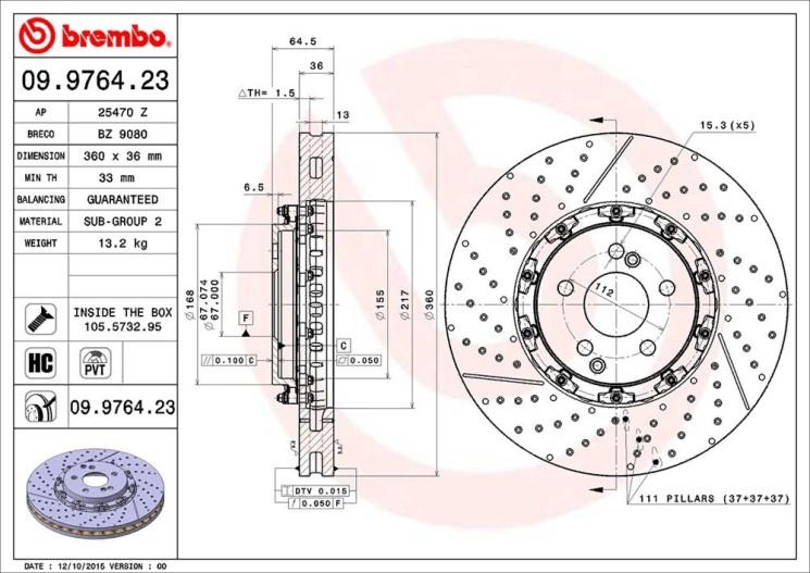 Тормозной диск Brembo 09976423