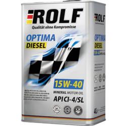 Моторное масло Rolf Optima Diesel 15W-40 CI-4/SL (4 л.) 322239