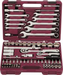 """Набор инструмента Thorvik 1/4"""" 1/2""""DR с головками торцевыми MultiProf, 82 предмета UTS0082MP"""