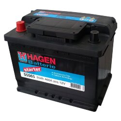 Аккумулятор Hagen (Exide) 55Ah 460A 242x175x190 п.п. (+-) 55565