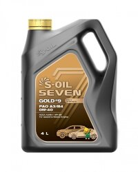 Моторное масло S-Oil Seven GOLD9 PAO A3/B4 0W-40 (4 л.) E107748