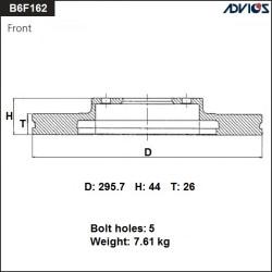 Тормозной диск Advics B6F162B