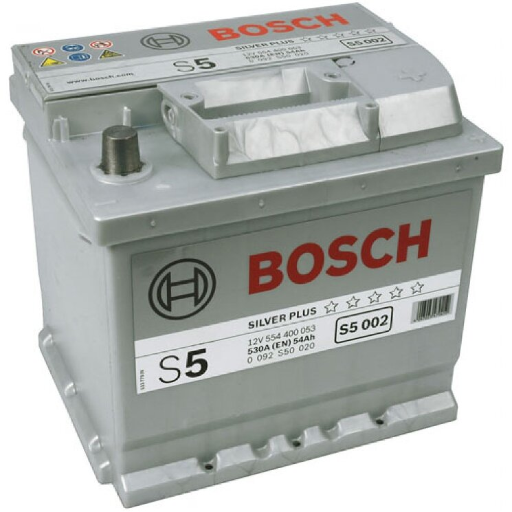 Аккумулятор Bosch S5 54Ah 530A 207x175x190 о.п. (-+)