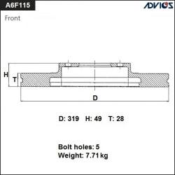 Тормозной диск Advics A6F115B