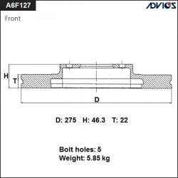 Тормозной диск Advics A6F127B