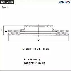 Тормозной диск Advics A6F535B